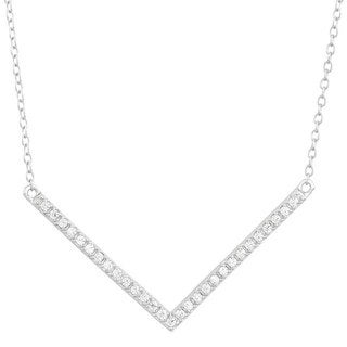 Sterling Silver Cubic Zirconia Chevron Necklace
