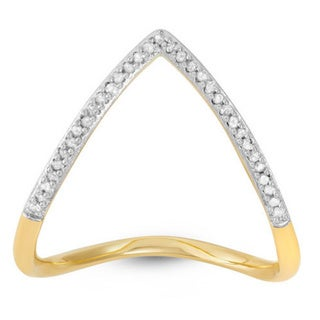 Sterling Silver 1/10ct TDW Diamond Chevron 'V' Ring (H-I, I3)