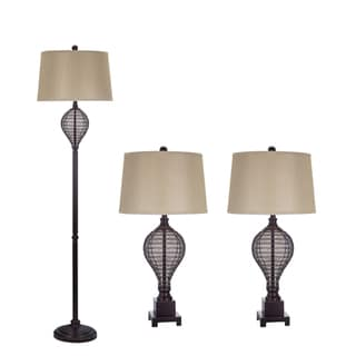 Oil Rubbed Bronze Cage Lamp (Set of 3)