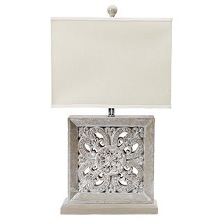 White Washed Grey 29-inch Resin Table Lamp