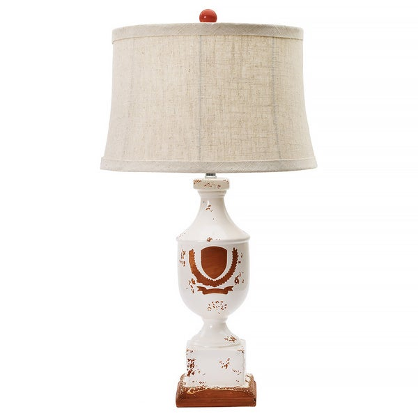 Victory Wreath on Terracotta 28-inch Ceramic Table Lamp