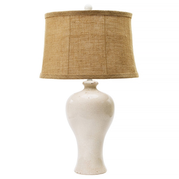 Aged Eggshell Crackle 30-inch Ceramic Table Lamp
