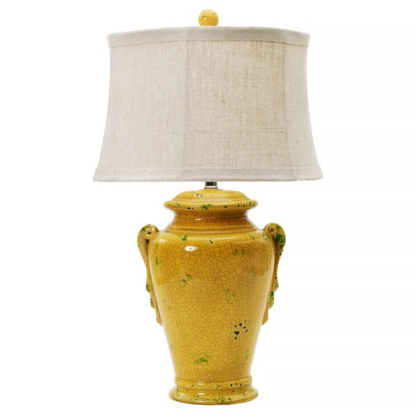 Aged Shabby Goldfinch 28-inch Ceramic Table Lamp