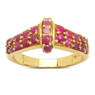 Malaika 14K Yellow Gold Plated 1 01 Carat Genuine Ruby 925 Sterling Silver Ring