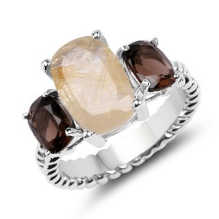 Malaika 5.75 Carat Golden Rutile and Smoky Topaz .925 Sterling Silver Ring