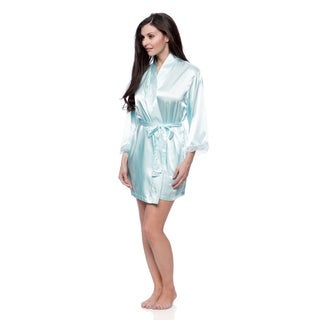 Aegean Apparel Women's Solid Satin Robe with Lace Trim