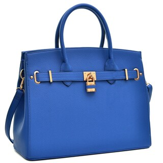 Dasein Padlock Satchel Handbag with Removable Shoulder Strap