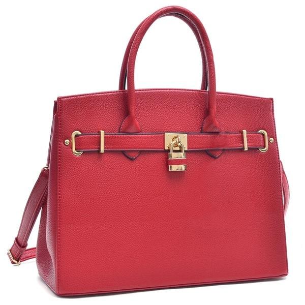 564c129a99 Shop Dasein Padlock Satchel Handbag with Removable Shoulder Strap ...