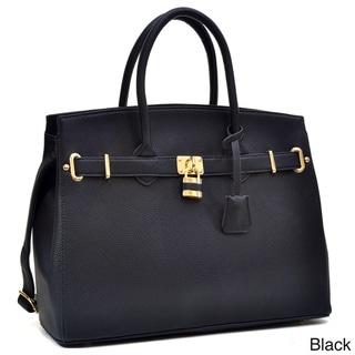 Dasein Padlock and Key Satchel Handbag with Removable Shoulder Strap
