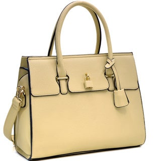 Dasein Faux Leather Padlock Satchel Handbag with Shoulder Strap