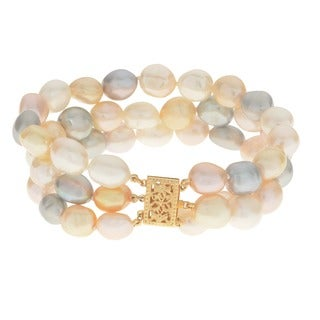 Pearls For You 14k Gold Baroque Freshwater Pearl Hand Knotted 3-strand Bracelet (9-10 mm)