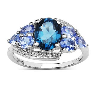 Malaika 2.41 Carat London Blue Topaz and Tanzanite .925 Sterling Silver Ring