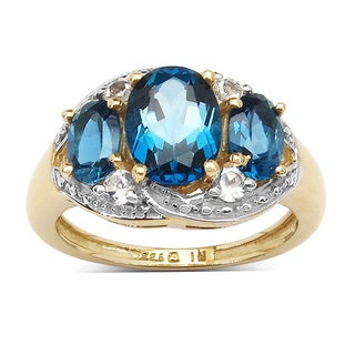 Malaika 14K Yellow Gold Plated 2.77 Carat London Blue Topaz and White Topaz .925 Sterling Silver Ring