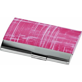 Veda Pink Matte and Polished Chrome Business Card Case