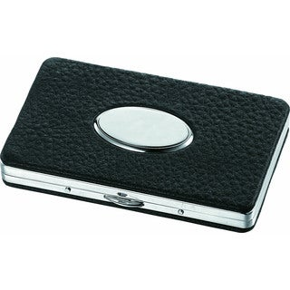 Visol The Oval Black Leather Business Card Case