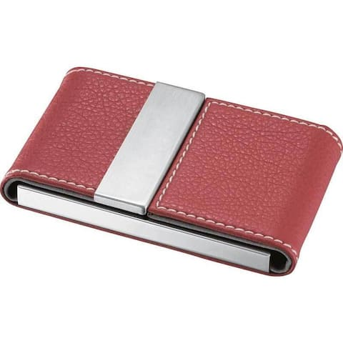 Visol Dasia Red Leather and Stainless Steel Business Card Case