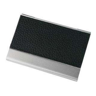 Visol Black Leather and Aluminium Business Card Holder
