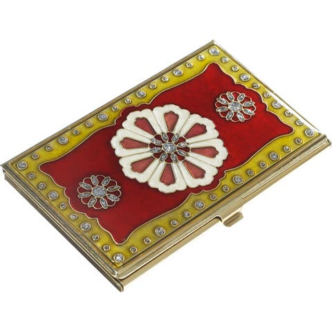 Farah Red Lacquer and Brass Business Card Case