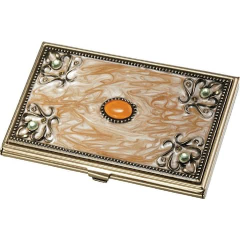 Gia Golden Marble and Brass Business Card Case