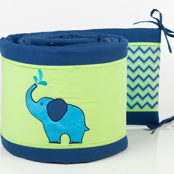 Pam Grace Creations 4-Piece Zig Zag Elephant Crib Bumpers