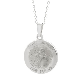 Pori Italian Sterling Silver Saint Medallion Charm Necklace