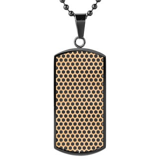 Men's Blackplated Stainless Steel Textured Dog Tag Pendant Necklace