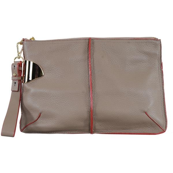 9c5ae6d027 Shop Halston Heritage Dark Ash Leather Wristlet Clutch - Free ...