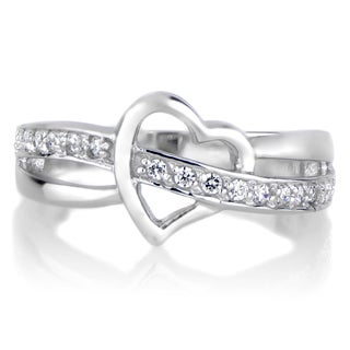 Brass Heart Cubic Zirconia Ring