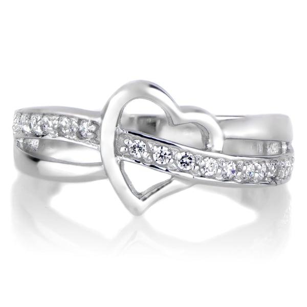 Brass Heart Cubic Zirconia Ring - White