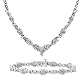 Divina Rhodium over Brass 1/2ct TDW Diamond 2-piece Jewelry Set (I-J, I2-I3)