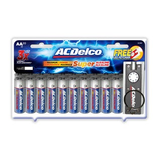 ACDelco 20-count Super Alkaline AA Batteries with Bonus LED Keychain Flashlight