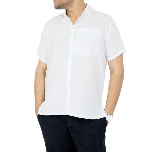 La leela men 39 s rayon solid white classic casual front for Mens rayon dress shirts