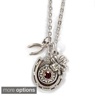 Sweet Romance Silver Horseshoe Birthstone Necklace