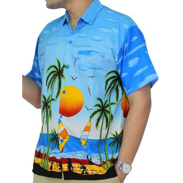 La Leela Likre Tropical Printed Beach Swim Hawaiian Camp Shirt Blue For Men/'s