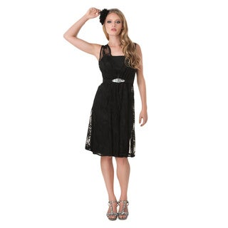 Bari Jay Women's Fitted Knee Length Dress with Lace Overlay