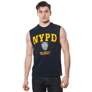 Men's NYPD Navy Muscle Shirt with Yellow Chest Print