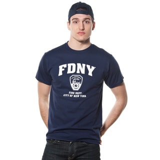 FDNY Adult Navy T-shirt with White Logo and Print