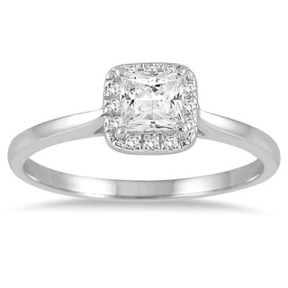 Marquee Jewels 14k White Gold 1/2ct TDW Diamond Halo Engagement Ring