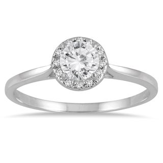 Marquee Jewels 14k White Gold 1/2ct TDW Diamond Halo Engagement Ring (I-J, I1-I2)