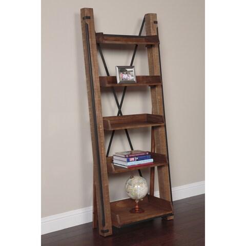 Industrial Open Shelf Ladder Bookcase