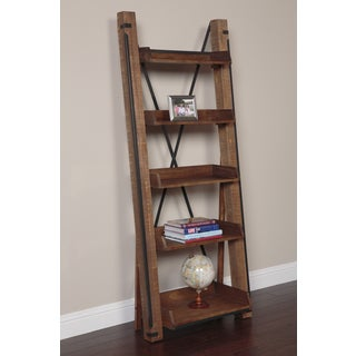 Industrial Wood and Iron Open Shelf Ladder Bookcase