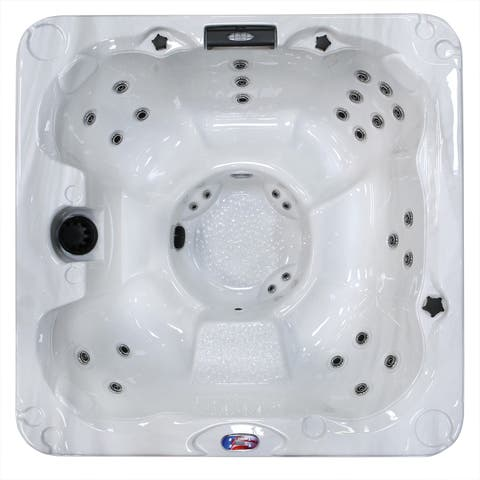 American Spas 7-Person 30-Jet Bench Spa with Backlit LED Waterfall