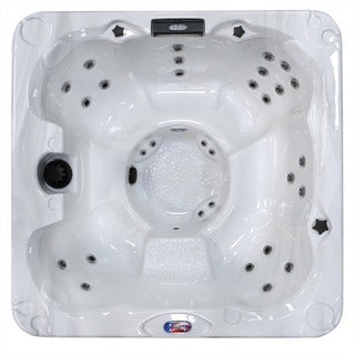 American Spas 6-Person 30-Jet Bench Spa with Backlit LED Waterfall