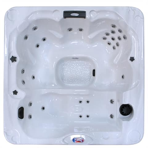 American Spas 6-person 30-Jet Lounger Spa with Backlit LED Waterfall