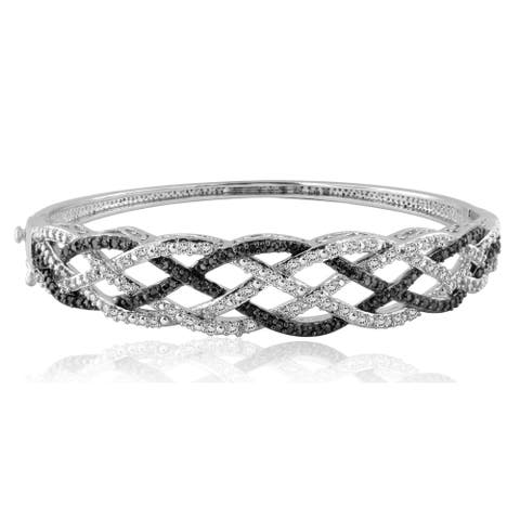 Divina Rhodium over Brass 1ct TDW Black and White Diamond Bangle