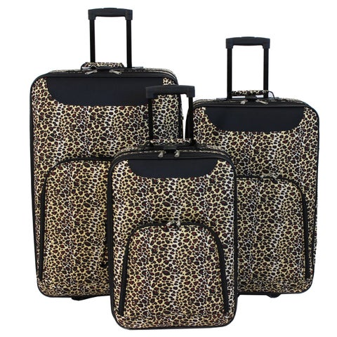 World Traveler Vogue 3-Piece Leopard Print Rolling Upright Luggage Set
