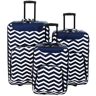 World Traveler Vogue 3-piece Chevron Rolling Upright Luggage Set