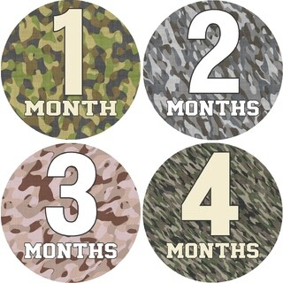 Rocket Bug Camo Monthly Baby Bodysuit Stickers (Set of 13)