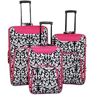 World Traveler Vogue Collection 3-piece Pink Trim Damask Wheeled Upright Luggage Set