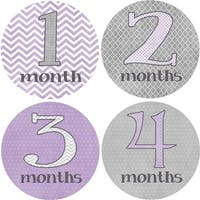 Rocket Bug 'Pretty in Purple' Monthly Baby Bodysuit Stickers (Set of 13)